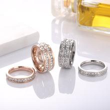 跨境熱銷爆款單雙排鑽石戒指 鈦鋼鑲鋯石滿鑽玫瑰金情侶指環飾品