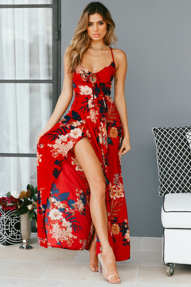 a7993ed0 Red Floral Print Sexy Dresses Lace Up V Neck Women Maxi Dresses ...