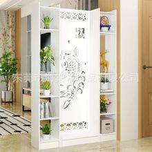 屏風隔斷客廳玄關柜現代時尚移動門廳裝飾柜鏤空雕花櫥窗背景