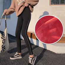 冬季新品韓版女裝純棉打底褲女側邊細條運動九分褲加絨加厚保暖褲