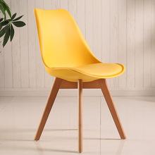 伊姆斯塑料餐桌椅休闲创意带海绵郁金香餐椅厂家批发时尚北欧椅子
