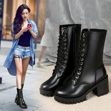 马丁靴女欧美裸靴?#20248;?#30701;靴粗跟中筒靴韩版百搭高跟女靴春秋单靴潮