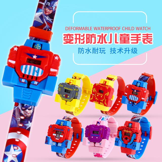 儿童炫酷变形防水机器人手表玩具卡通变形金刚小学生电子手表批发