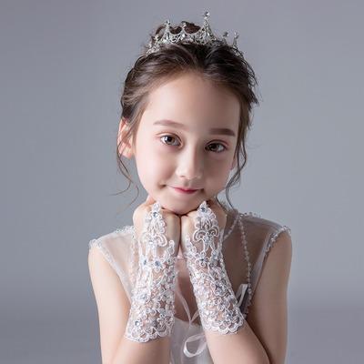 2pcs Korean white red lace diamond wedding flower girls gloves children stage performance photos shooting model show mittens fingerless girls jazz latin dance gloves