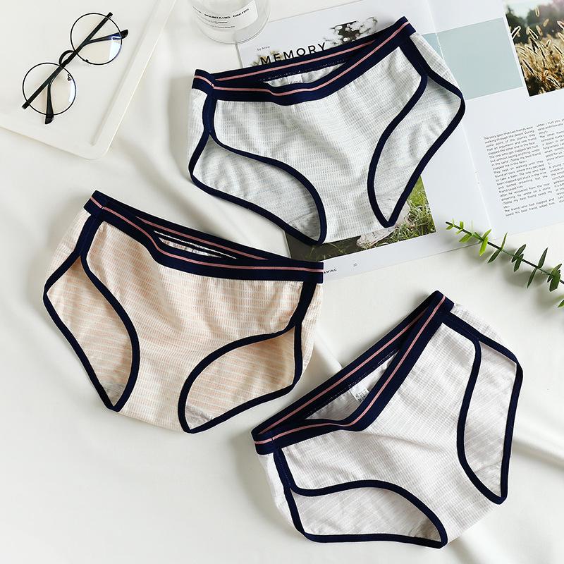 日系性感女内裤运动条纹少女裤衩低腰纯棉大码女士三角裤底裤薄款