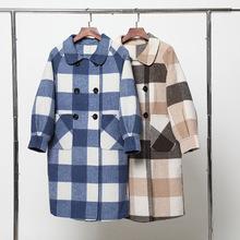 2019冬季新款格子羊绒大衣 时尚韩版羊毛长款呢大衣女士 厂家批发