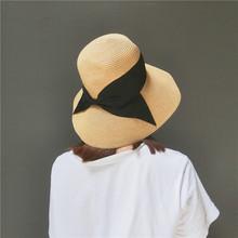 可折叠太阳帽日系百搭蝴蝶结草编渔夫帽夏季女草帽遮阳帽防晒帽子