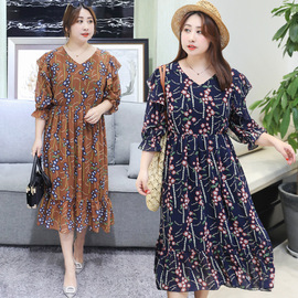 Summer new straight supply to increase the fat extra large size chiffon dress sweet 1111