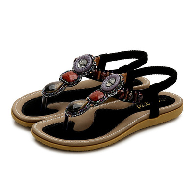 Bohemian open toed sandals beads clip toe flat shoes large size one Sandal