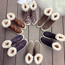 2019冬季新款加絨保暖厚底豹紋棉鞋女韓版時尚休閑套腳雪地靴