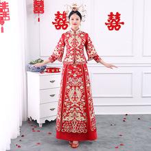 新娘結婚禮服唐裝新款中式婚禮秀禾服紅色繡花錦緞龍鳳褂套裝廠家