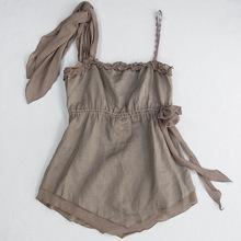 外贸出口 尾货女装背心夏季 大码上衣森系文艺范纯色吊带 26221