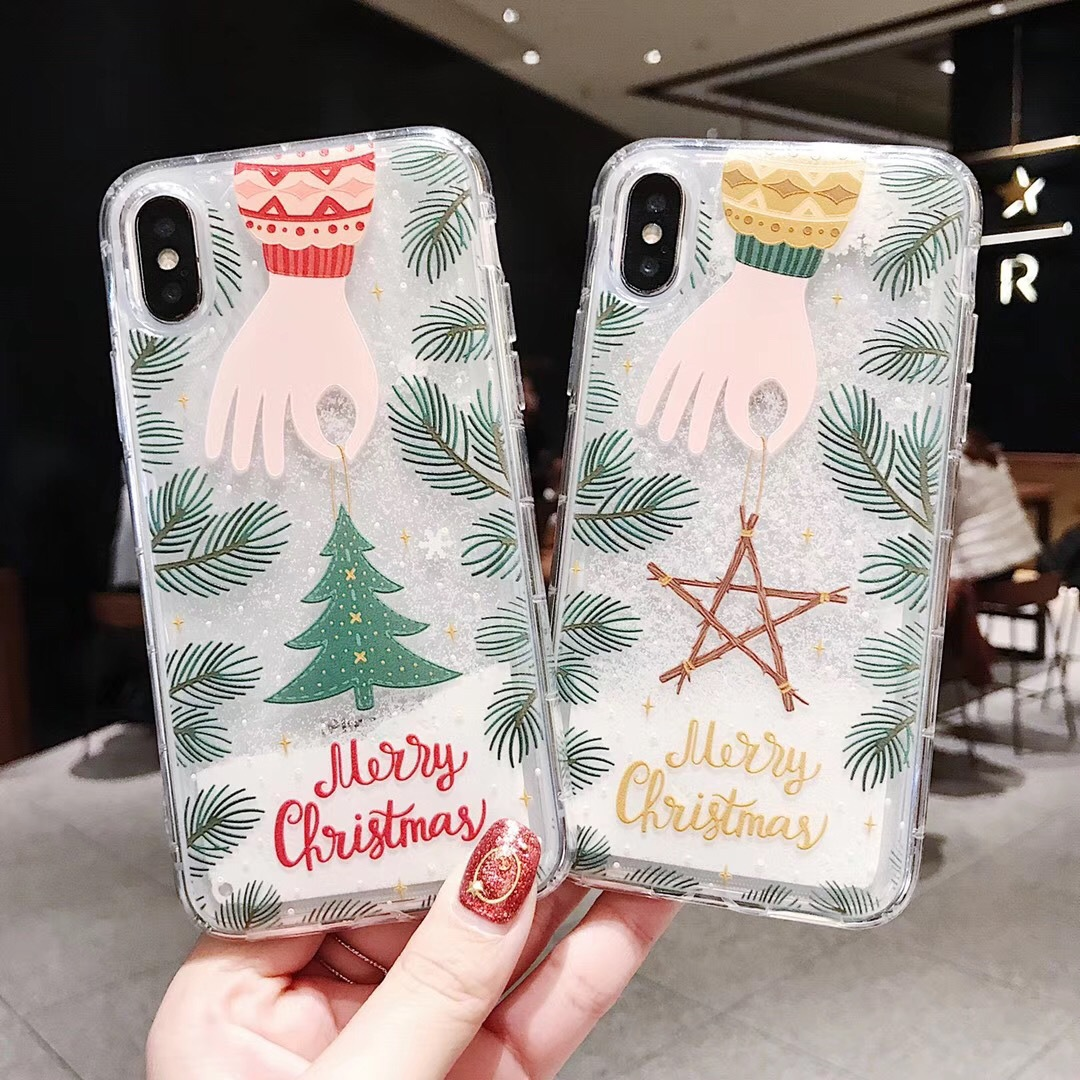 Applicable iPhoneXSMax mobile phone case Apple 7PlusXS Santa XR Christmas tree 8plus quicksand shell