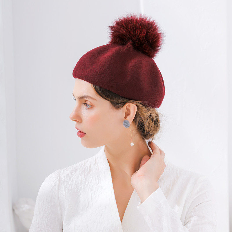 Party hats Fedoras hats for women Looking for fox hair ball melon Beilei hat