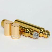 10毫升UV金色走珠瓶配塑料托+钢珠+金盖厂家直销提供丝印