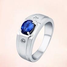 銀戒指批發  女日韓版  水滴形戒指 藍寶石戒指 鍍白金 銀飾品