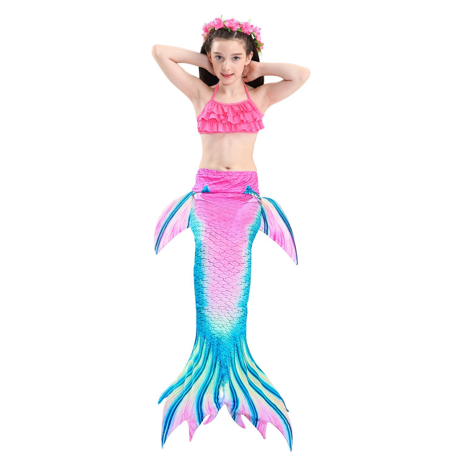 9258216547 898390851 - 4PCS/Set HOT Kids Girls Mermaid Tails with Fin Swimsuit Bikini Bathing Suit Dress for Girls With Flipper Monofin For Swim