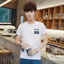 夏季新款短袖T恤男微商一件代发韩版修身印花圆领纯棉T恤休闲男装