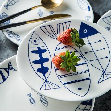 创意陶瓷碗盘碟家用西餐盘餐厅饭盘 圆形寿司盘餐具礼品定制批发