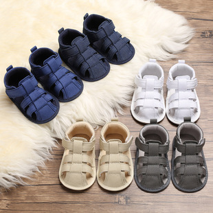 Baby shoes, toddler shoes, summer models, 0-1 year old men and women, baby canvas soft-soled baby shoes sandals, one drop shipping