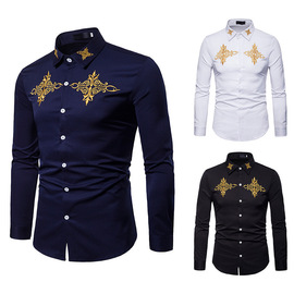 Men's spring and autumn new fashion embroidered long-sleeved shirt men's slimming lapel shirt