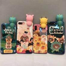 蓝光卡通趴趴熊苹果X手机壳 iphone6s防摔潮款可爱情侣7plus软壳