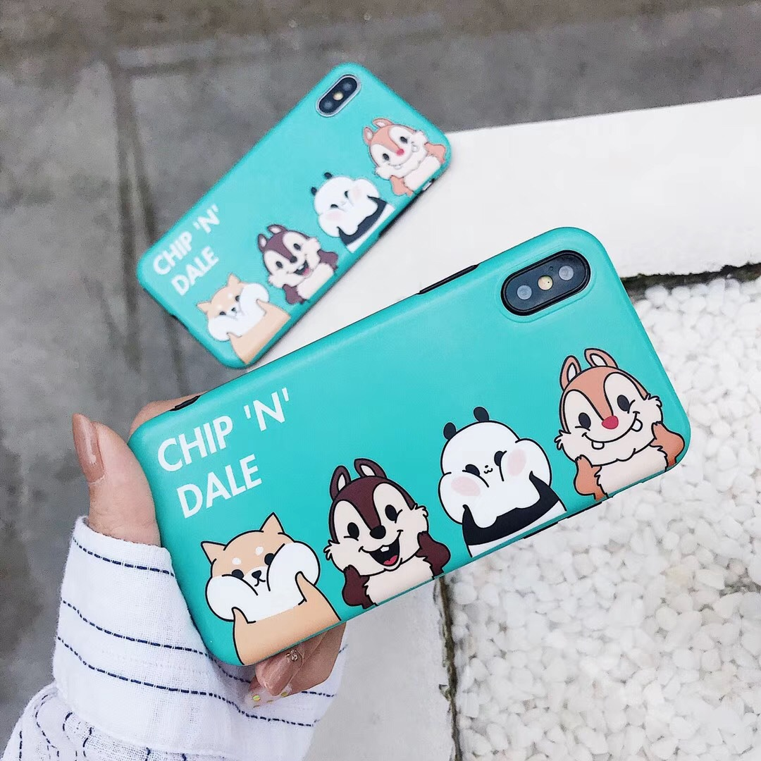 Cute cartoon squirrel all-inclusive iphone7/8plus mobile phone shell Apple X anti-fall 6s protective cover frosted men and women
