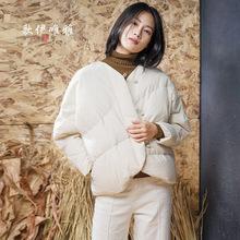 2018冬装原创新款手工盘扣宽松长袖轻薄外套白鸭绒羽绒服女面包服
