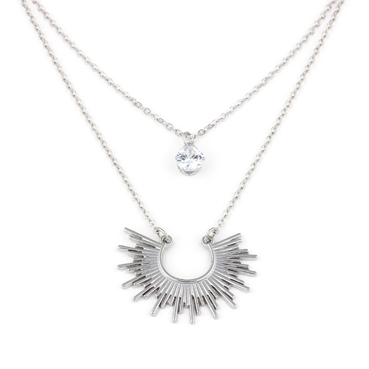 fashion double layer rhinestone fan-shaped clavicle necklace NHRN268793
