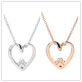 Popular style simple love heart-shaped dog claw pendant necklace good friend couple alloy necklace jewelry batch