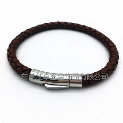 真皮编织绳手链,不锈钢磁扣手环,男士手环