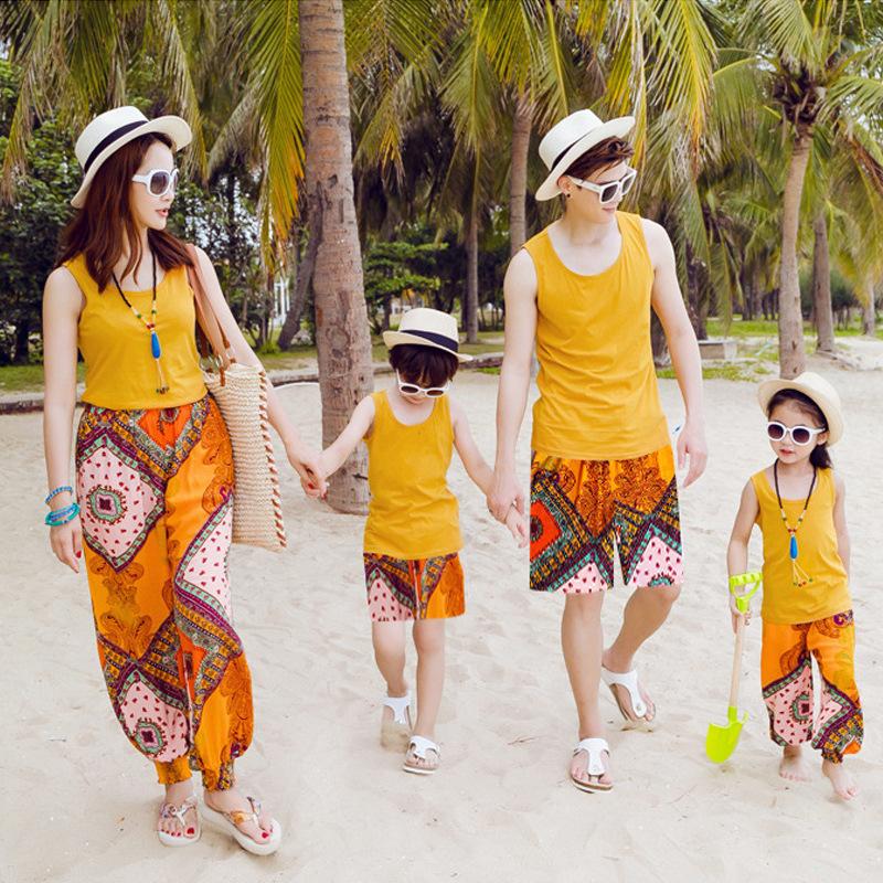 亲子装夏装T恤 2019新款海边度假沙滩裤背心套装厂家直销一件代发