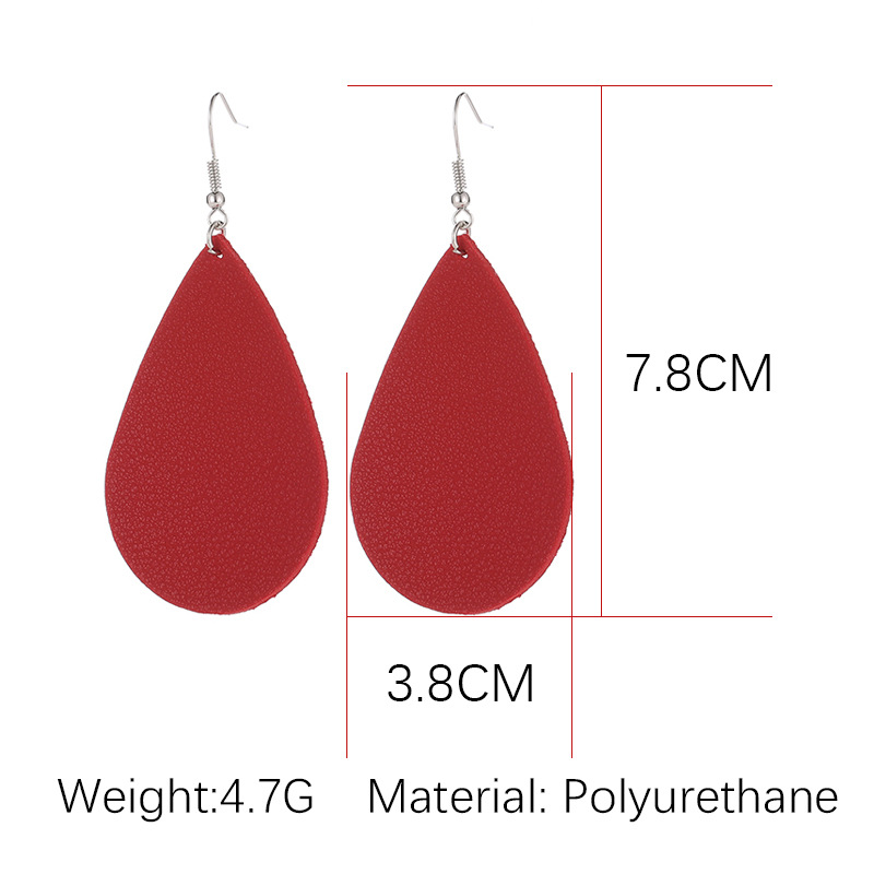 Fashion Creative Earrings Simple Leaf Water Drop PU Artificial Leather Earring Jewelry Wholesale NHDP203088