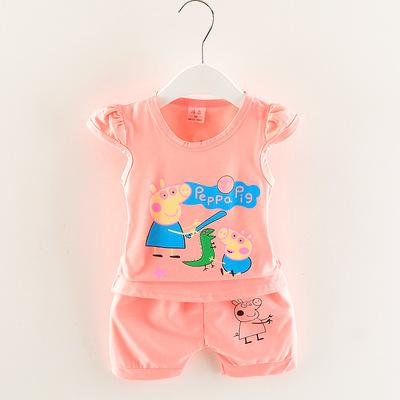 18 mùa hè mới cô gái đặt 1-4 tuổi bé 2 lợn bông vest hai bộ nhà sản xuất bán buôn