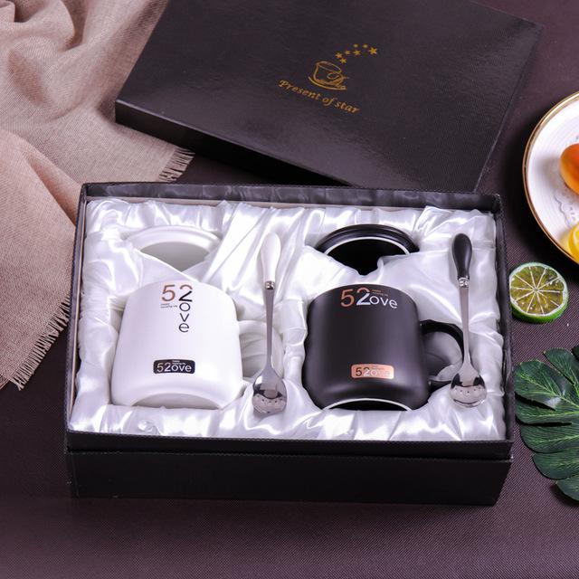 520 Tatu vài cốc gốm với những món quà kỳ nghỉ nắp muỗng bộ sáng tạo ly cà phê tùy chỉnh Bộ cốc