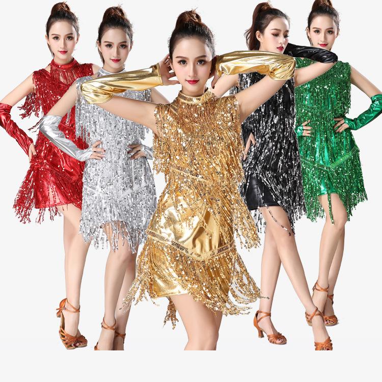 女?#25159;?#25289;丁流苏裙舞蹈舞台装 亮片舞台表演服广场舞舞蹈演出服装