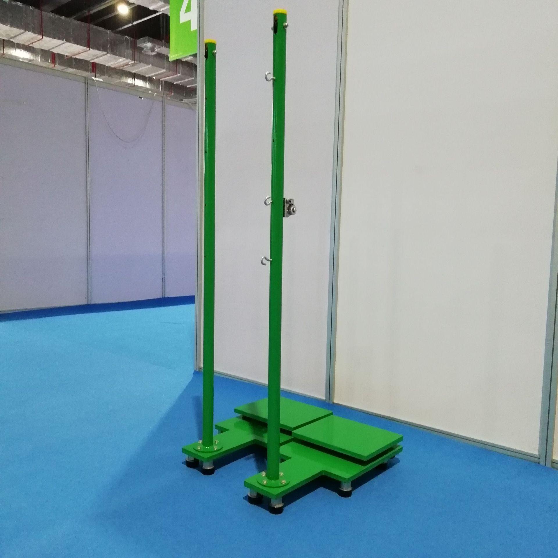 厂家直销移动式羽毛球网架 纯钢板底座 高档不锈钢立柱羽毛球柱