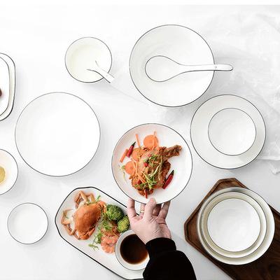 厂家直销 包邮景德镇简约北欧风餐具 陶瓷碗盘碟套装釉下彩微波炉