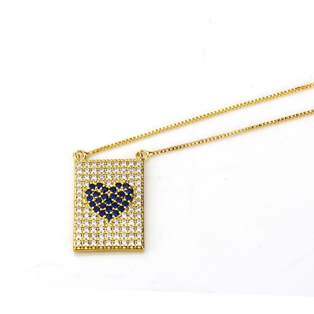 Copper Fashion Geometric necklace  Alloyplated black zircon NHBP0143Alloyplatedblackzircon