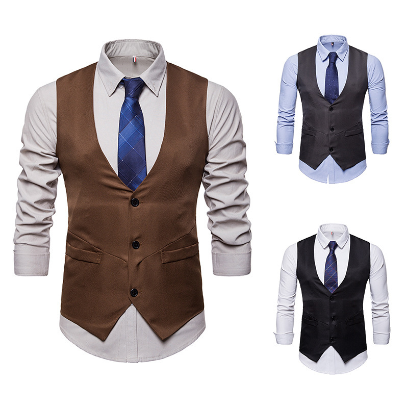 Amazon men's spring and autumn new V-neck single breasted waistcoat for men