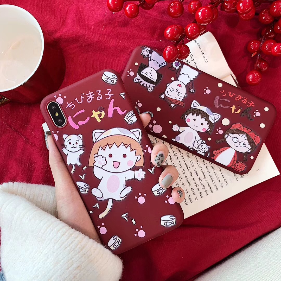 Cartoon cherry pellets for iPhone7plus mobile phone shell cute apple xs matte IMD all-inclusive soft cover