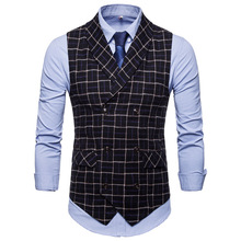 Foreign trade  explosion models Fall new products Plaid double-breasted men's casual vest 9660