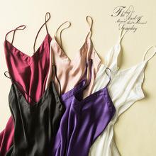 新品性感真丝V领睡裙气质高档女装货源打底裙素绉缎吊带裙