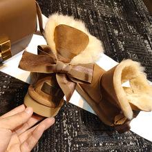 RANKEΝUGG蝴蝶结雪地靴女皮毛一体baby同款新款冬季保暖短筒棉靴