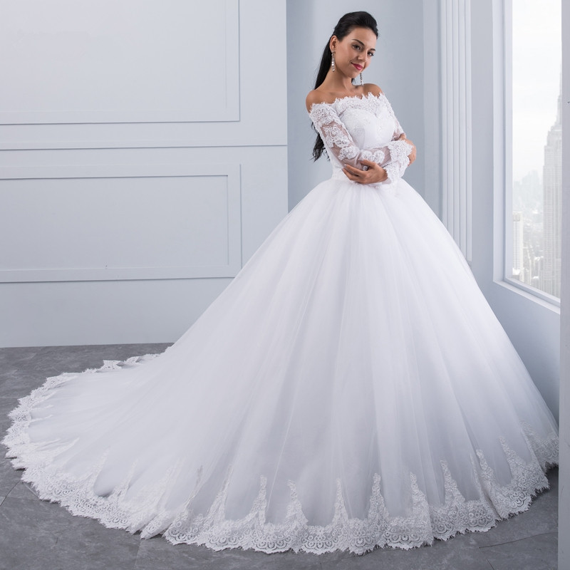 Beautiful Wedding Ball Gowns: Ball Gown Lace Wedding Dresses Long Sleeves Off Shoulder