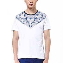 C男装半袖新款英伦烫钻社会男士时尚弹力修身圆领短袖T恤潮牌T851