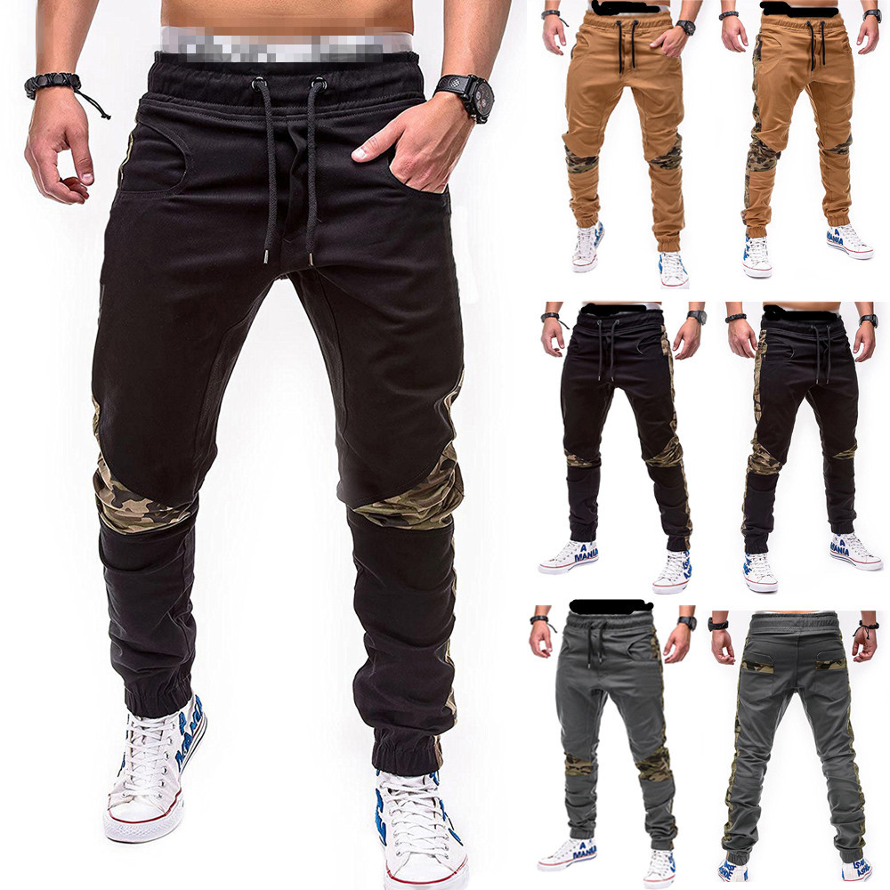 Foreign trade new spring and autumn men's camouflage splicing Leggings casual pants men's large elastic waist small leg Harun pants