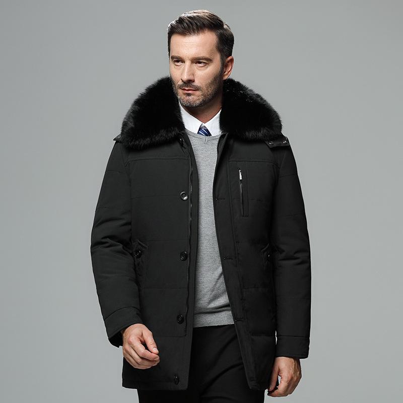 2019冬季新款加厚羽绒服男可拆卸领式中老年爸爸装真毛领男士外套