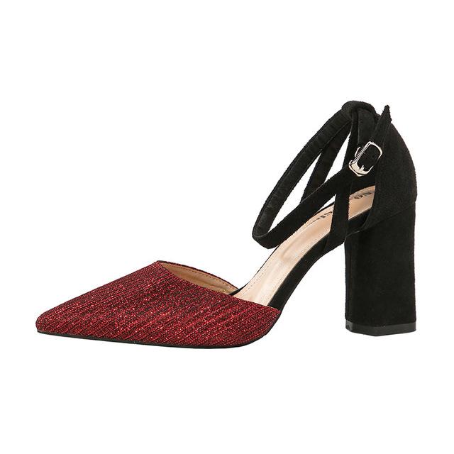 1038-8韩版时尚尖头高跟鞋夜店性感女单鞋一字带粗跟女鞋职业单鞋