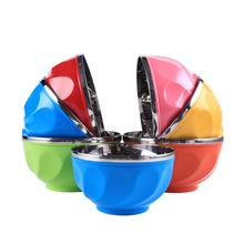 創意防滑耐摔兒童蘋果碗 不銹鋼炫彩雙層隔熱碗 熱銷禮品
